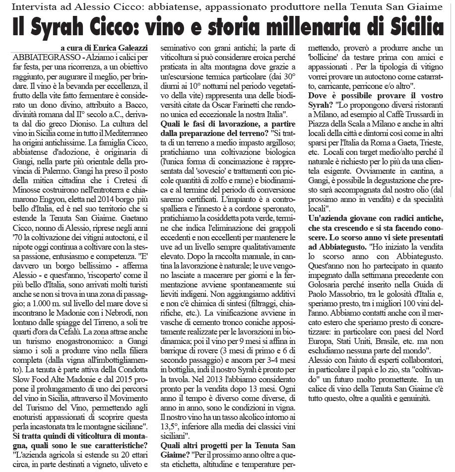 Il Syrah Cicco: vino e storia millenaria di Sicilia. | Eco dell Città 23 Dicembre 2014
